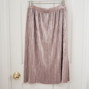 Vince Camuto Metallic Pale Gold Pleated Midi Skirt